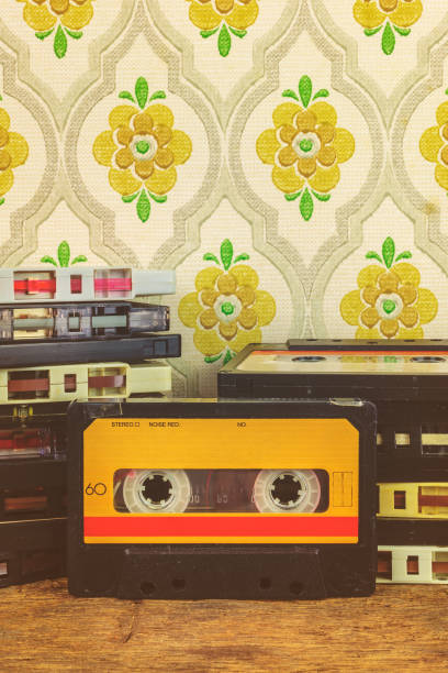 Retro styled image of vintage audio compact cassettes stock photo