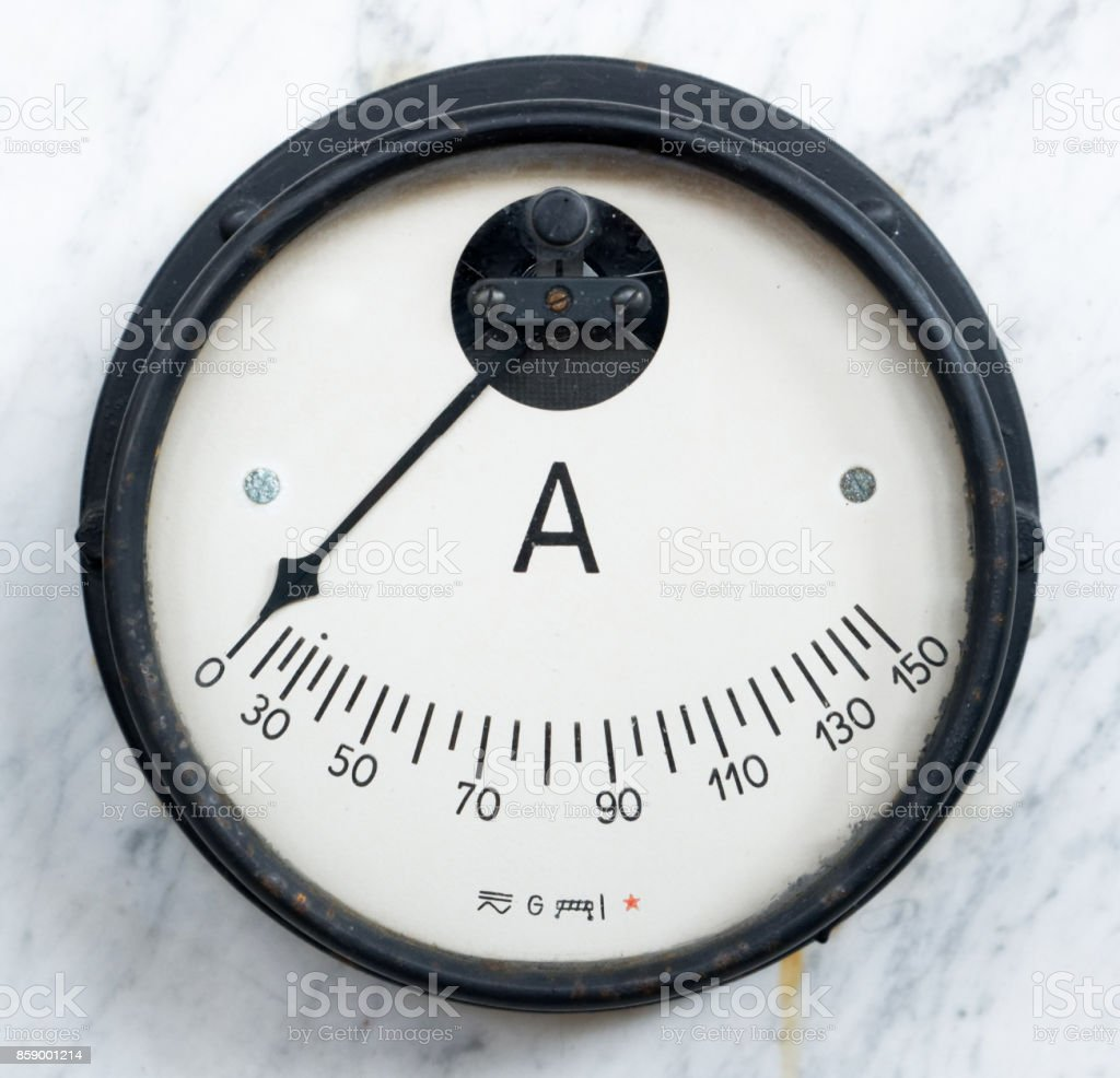Retro styled instrument of electrical measurement stock photo