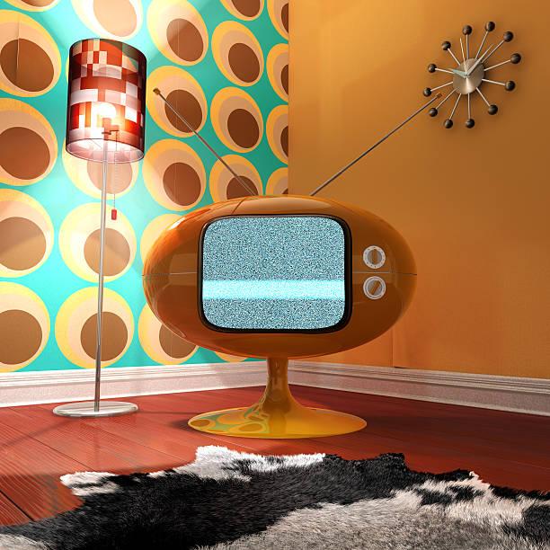 Retro styled living room stock photo