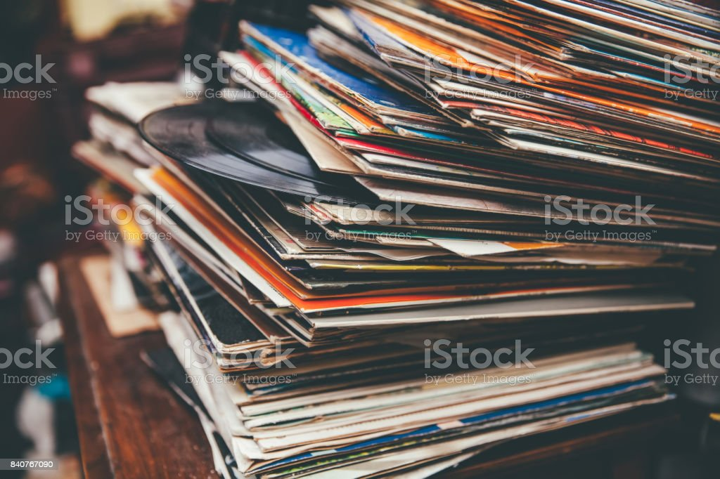 Retro Styled LP Records stock photo
