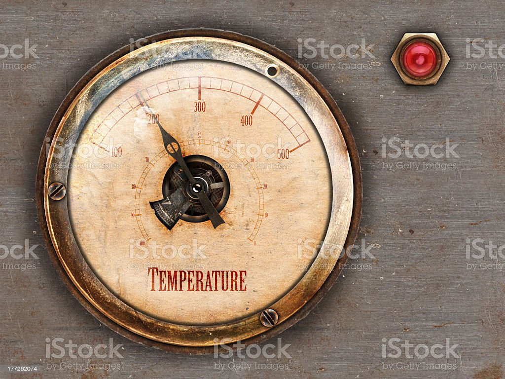 Retro styled metal gauge stock photo