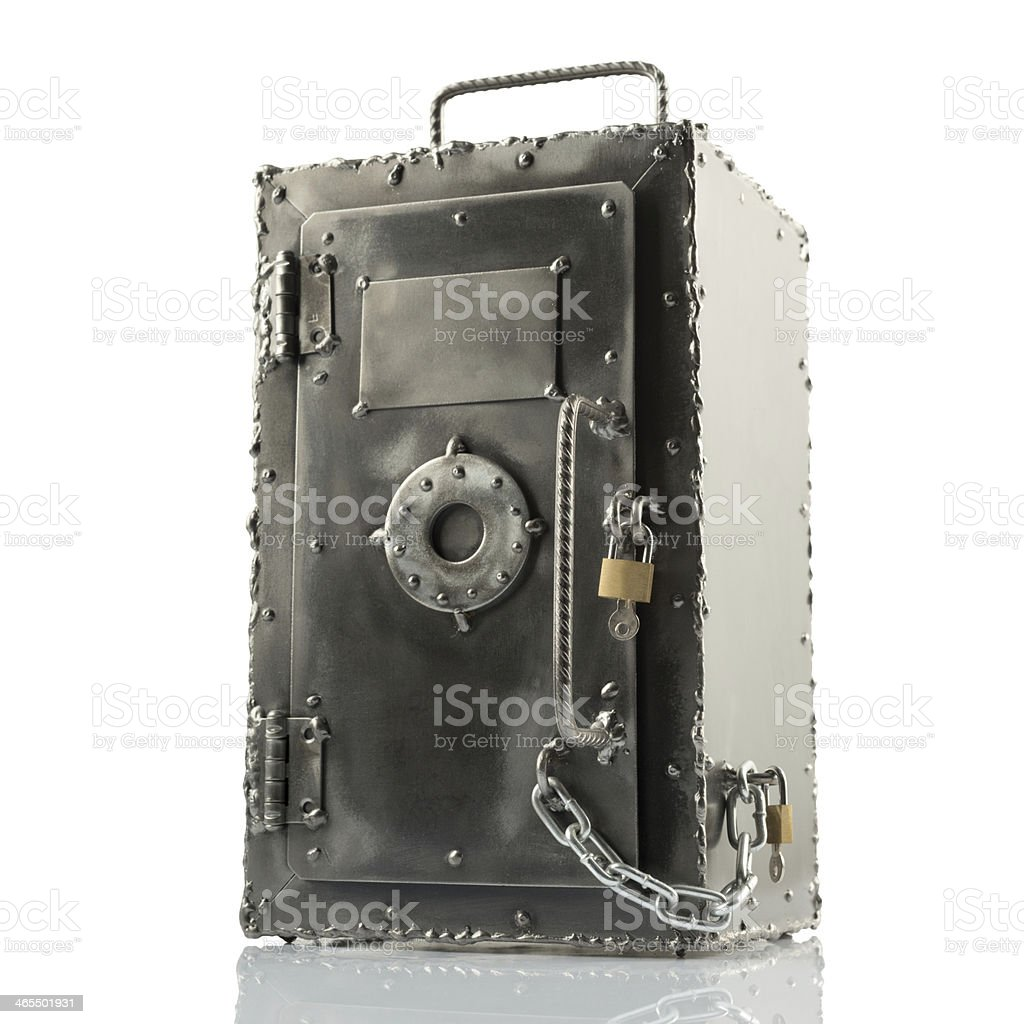 Retro styled safe box with locks stock photo