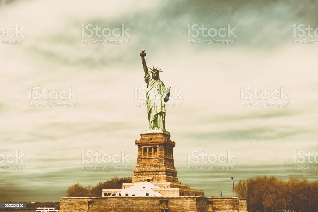 Retro Styled Statue of Liberty royalty-free stock photo