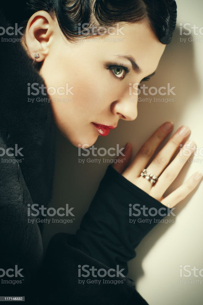 Retro Styled Woman Portrait royalty-free stock photo