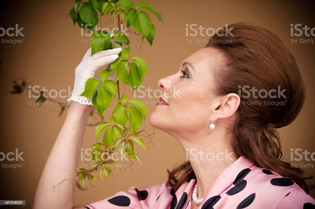 Retro Styled Woman Portrait stock photo