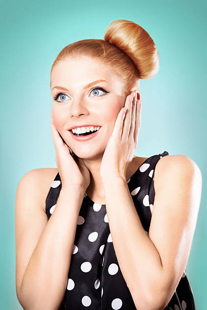 Retro styled woman surprised stock photo