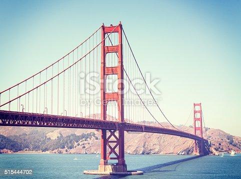 Retro stylized Golden Gate Bridge in San Francisco, USA.