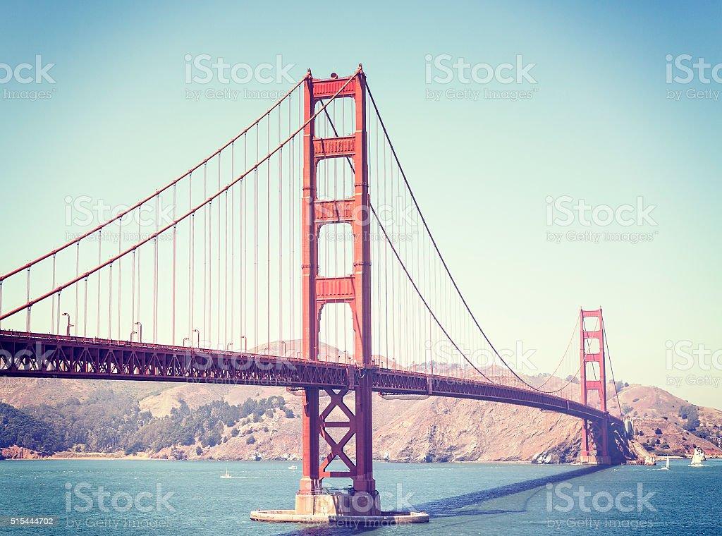 Retro stylized Golden Gate Bridge in San Francisco, USA stock photo