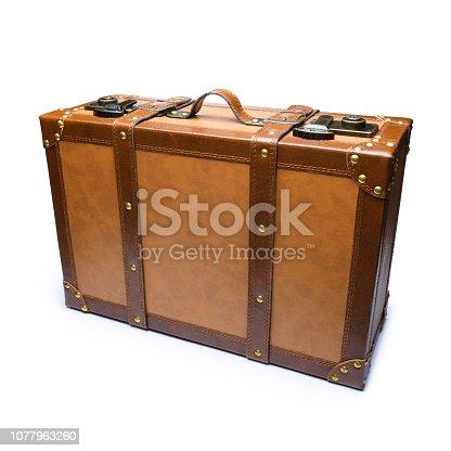Retro stylized suitcase isolated on white background