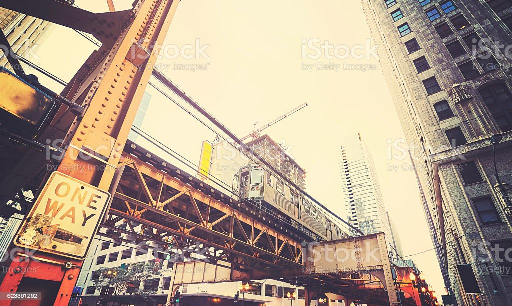 Retro stylized view of Chicago street with subway. stock photo