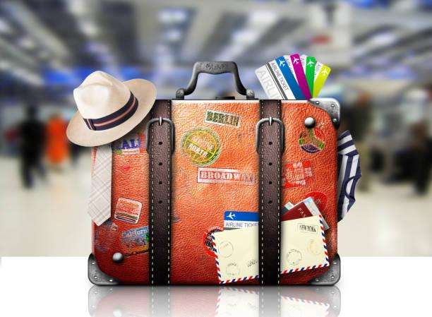 retro-koffer - gepäck verpackung stock-fotos und bilder