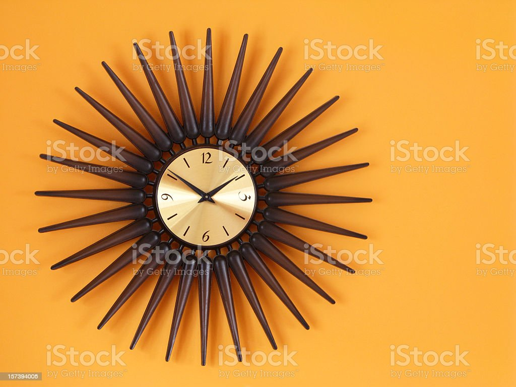 Retro Sunburst Clock. stock photo
