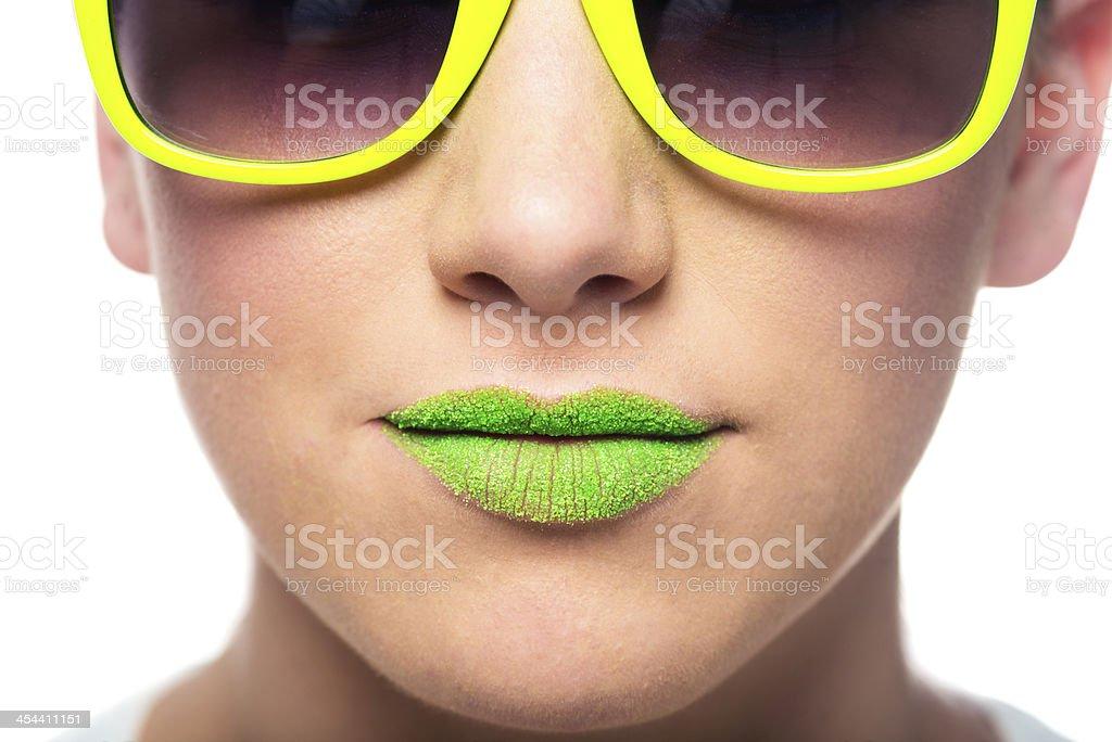 Retro sunglasses and lips stock photo