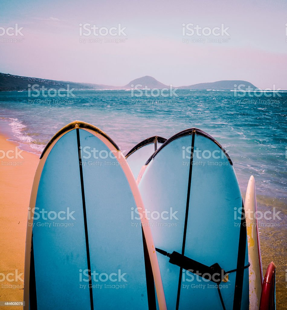Retro Surfboards On Beach stock photo
