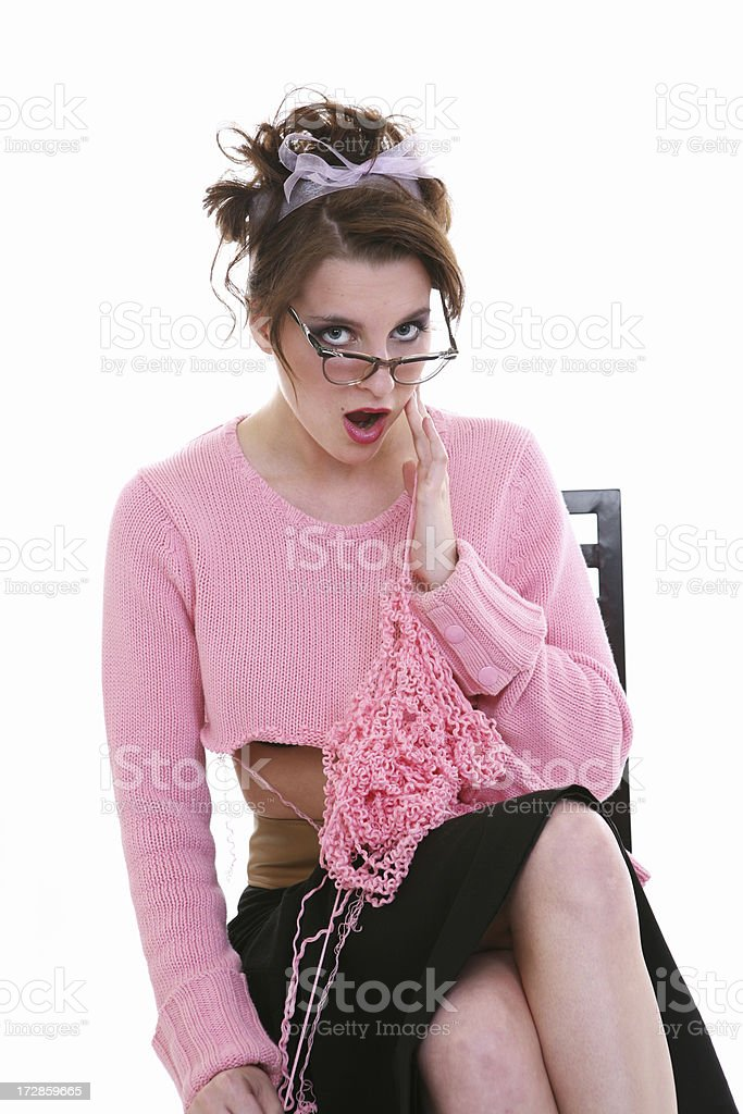 Retro Sweater Girl royalty-free stock photo