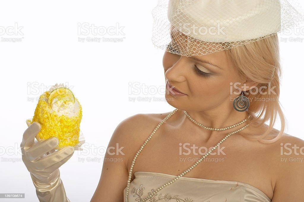 Retro sweet tooth woman. royalty-free stock photo