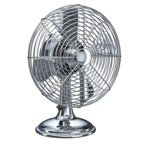 Retro Table Fan, 3D rendering isolated on white background stock photo