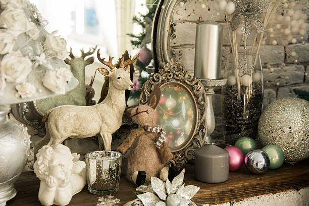 Retro table with mirror, toys and candles. stock photo