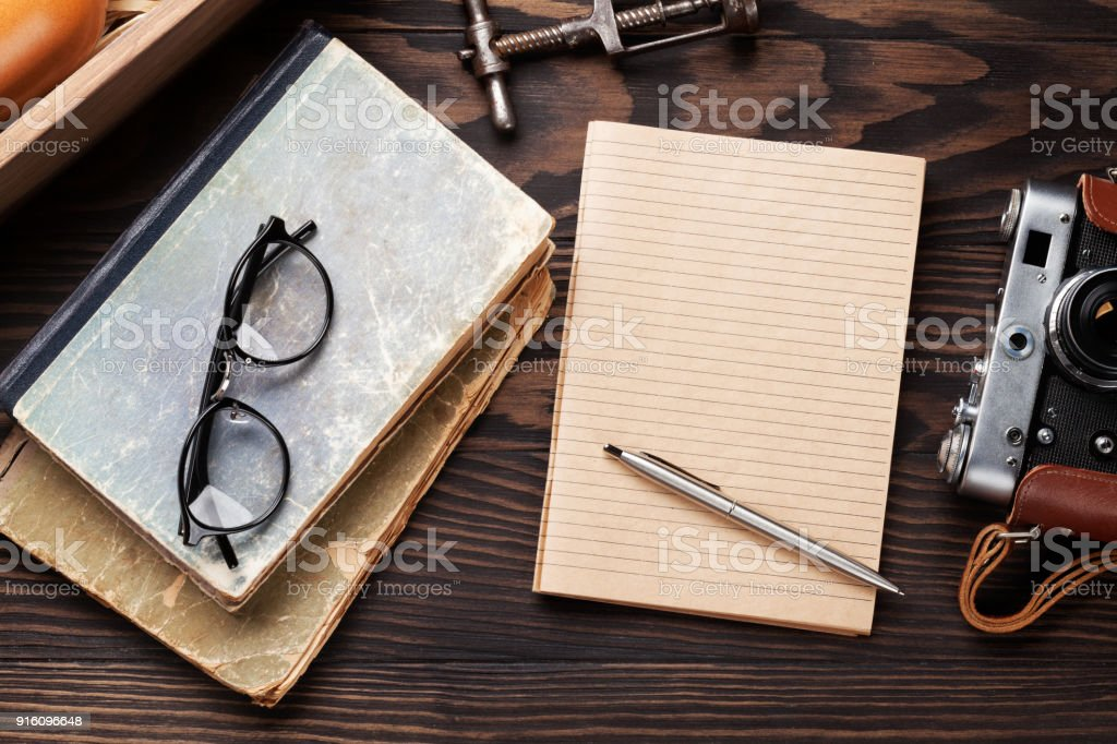 Retro table with vintage items stock photo