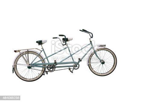 Retro Tandem Bicycle isolated on white background