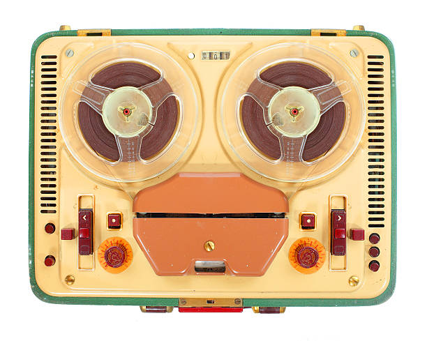 retro tape recorder. - dictaphone stock pictures, royalty-free photos & images