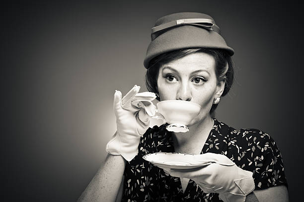 Retro Tea Time Girl stock photo