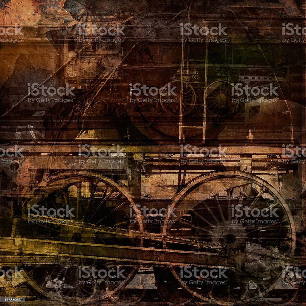 \'Retro technology, old trains, grunge background texture\'