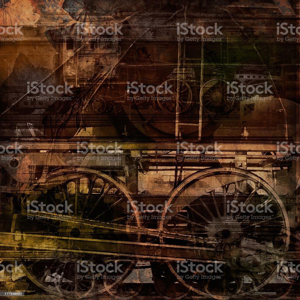 \'Retro technology, old trains, grunge background texture\'