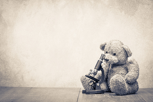 istock Retro Teddy Bear with laboratory microscope front concrete wall background. Education concept. Vintage style sepia photo 1047493824