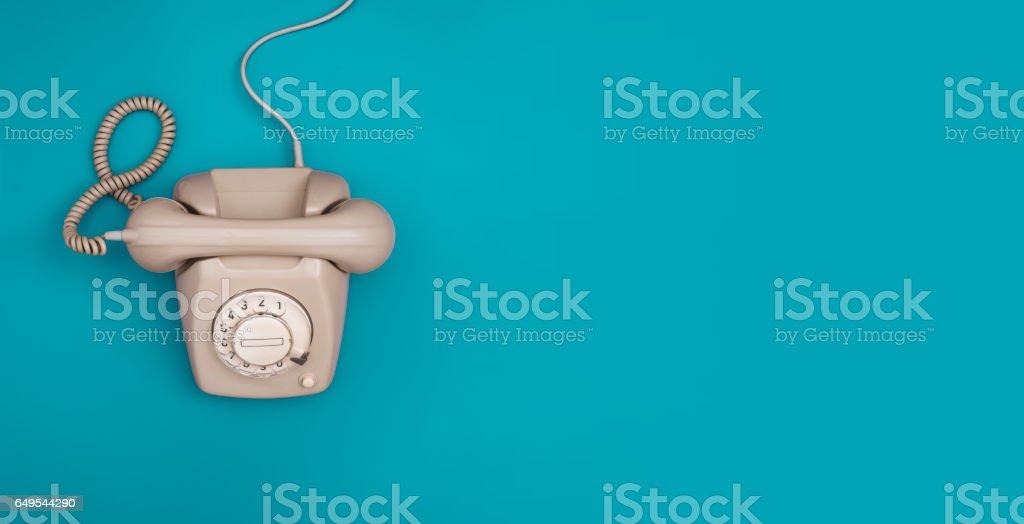 Retro telephone header stock photo