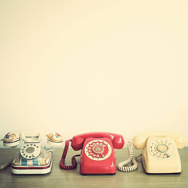 Retro telephones stock photo