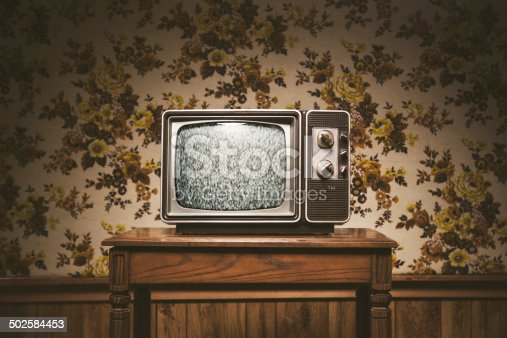 An old T.V. from the 1980's sits on a wood table in a vintage styled living room, floral wallpaper and wood paneling on the wall in the background.  Horizontal image with copy space.