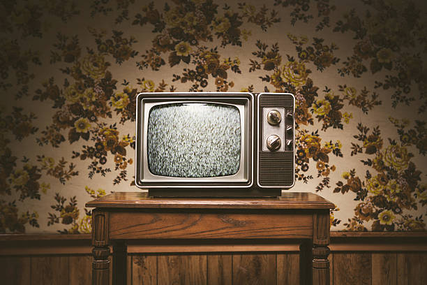 retro television and wallpaper - 1980s style stock photos and pictures