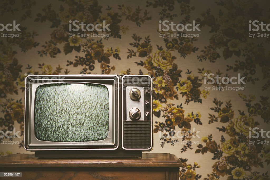 Retro Television and Wallpaper stock photo