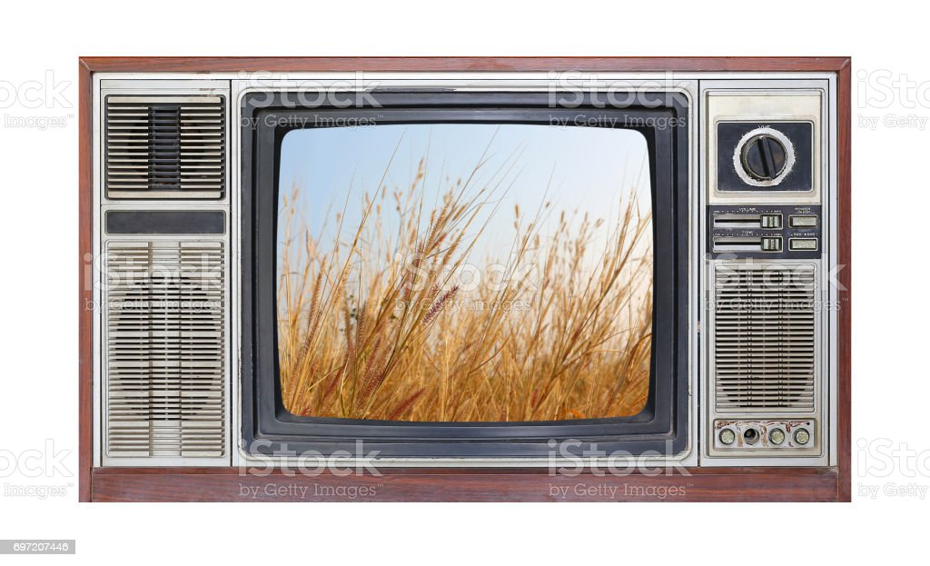 Retro television on white background with image of dried grass field on screen. stock photo