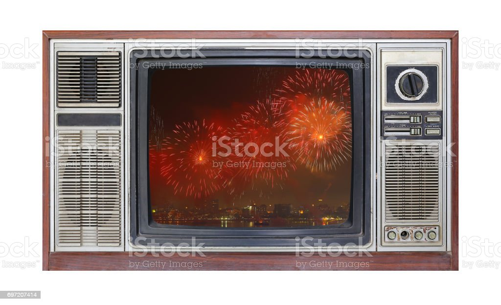Retro television on white background with image of firework on screen. stock photo