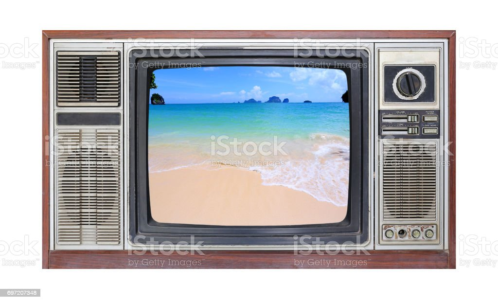 Retro television on white background with image of sand on the beach on screen. stock photo