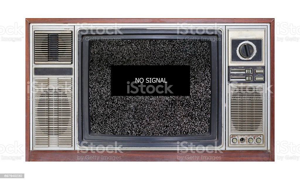 Retro television on white background with image of television grainy noise effect and text 'no signal' on screen. stock photo