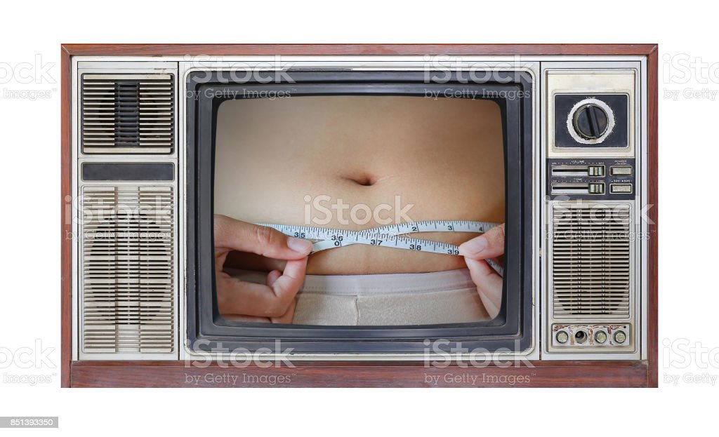 Retro television on white background with image of woman body fat overweight on screen. stock photo