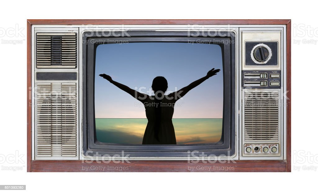 Retro television on white background with image Silhouette of woman stretching arms on screen. stock photo