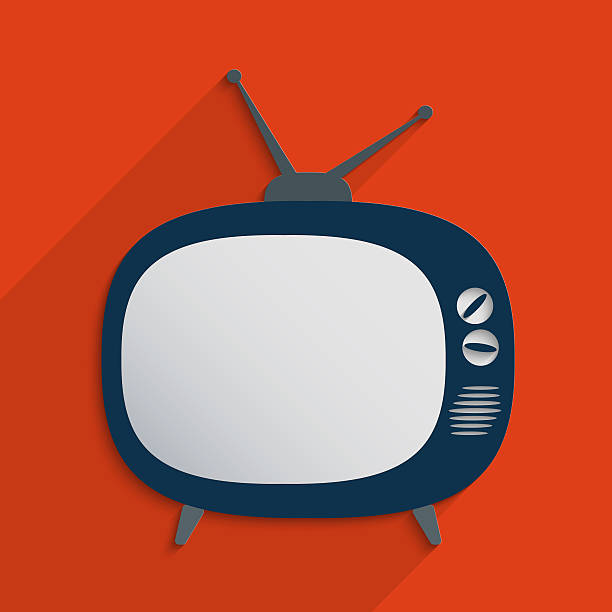 retro television - flat design stock photos and pictures