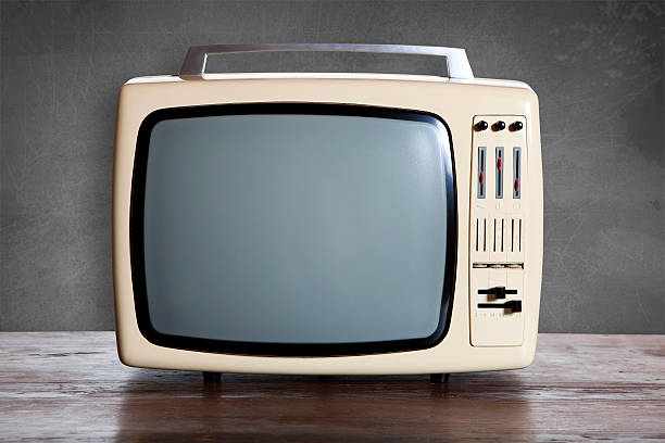 retro television old white television from 70´s portable television stock pictures, royalty-free photos & images