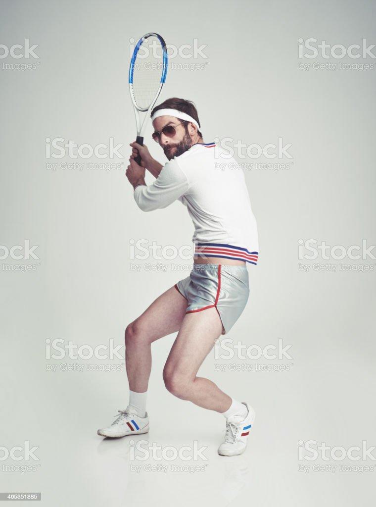 Retro tennis pro stock photo