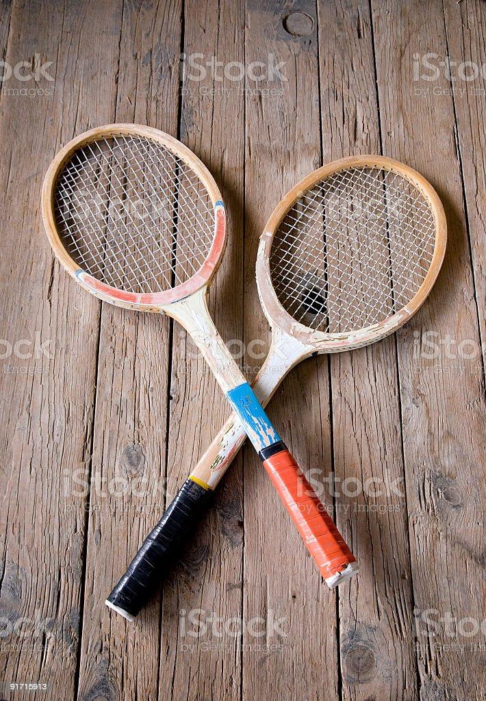 Retro tennis rackets stock photo