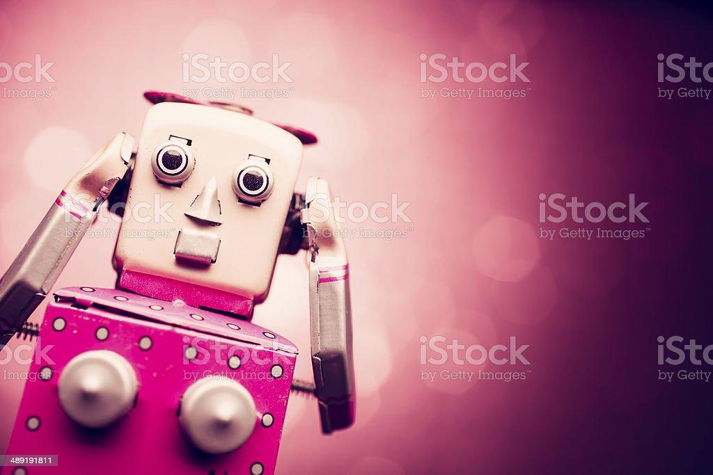 Retro tin robot woman stock photo