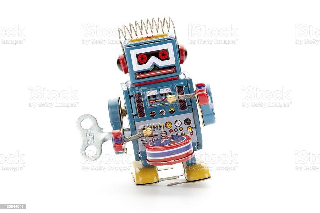 Retro Zinn Spielzeug-Roboter-drummer – Foto