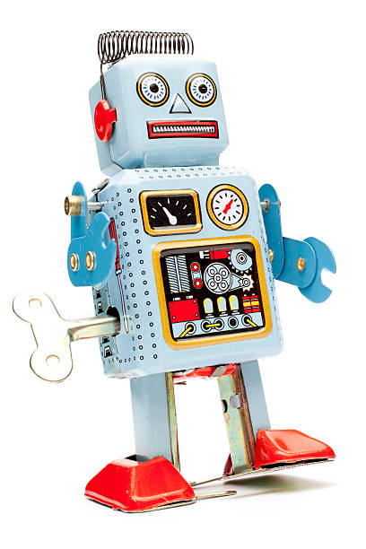 retro tin toy robot - toy stock pictures, royalty-free photos & images