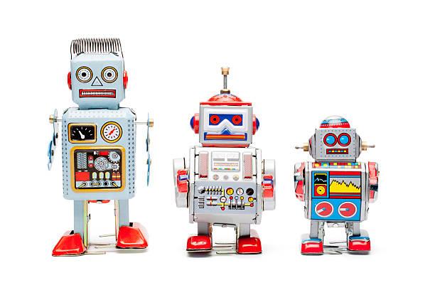 estaño de robots de juguete retro - robot fotografías e imágenes de stock