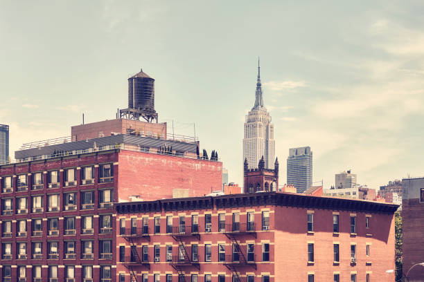 Retro toned picture of old Manhattan buildings, New York. stock photo