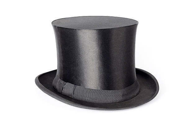Retro top hat on white background stock photo